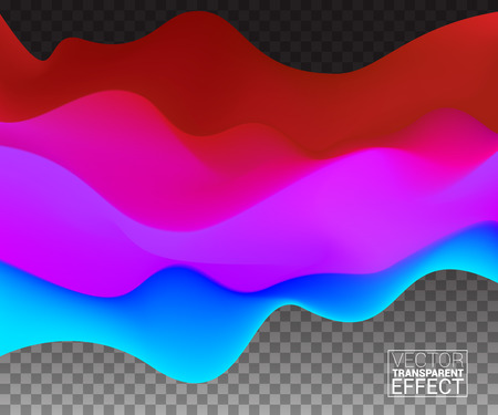ttemplate: Colored Waves Warm Cool Shade. TTemplate Cover flyers Brochures Print Web Banner. Red Blue Color Modern design. Effect Realistic Elements. Vector Illustration Transparent Background. Illustration