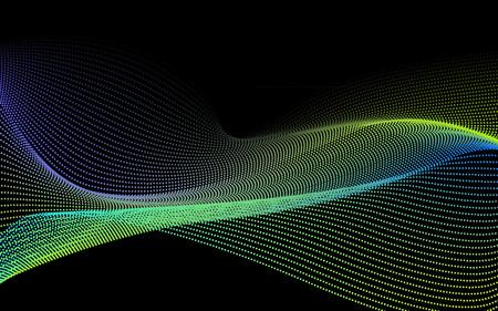Technologia Przepływ danych. Siatka cząstek. Krajobraz Cyberprzestrzeni Ulotki Ulotek Wydrukuj Baner WWW. Efekty Realistyczne Elementy. Ilustracja wektora tła.