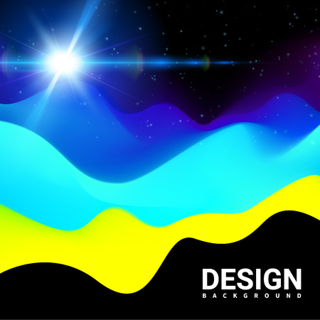 ttemplate: Yellow blue color Modern design. Mountains Landscape Waves abstract Surface Colored warm cool shade. TTemplate Cover Flyers Print Web Banner. Effect Realistic Elements. Vector Illustration Background. Illustration
