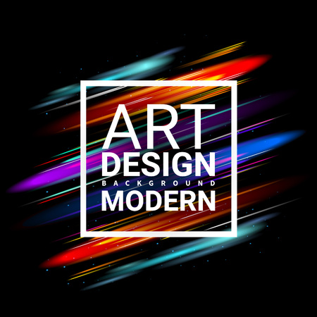 ttemplate: Modern Art Graphics. Dynamic Stylish Light. business Invitations Gift Card brochures TTemplate Cover Print Web Banner Frame for Text. Effect Realistic Elements. Vector Illustration Black Background.