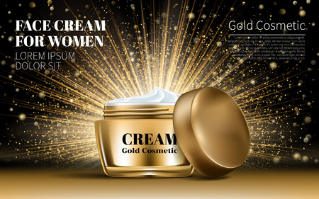 Realistic Gold Women Cream for Eye and Face Bottle Mockup on Dazzling Background. Contained in Glass Mock up. Cosmetic Design Product. 3D Vector Illustration. Vectores