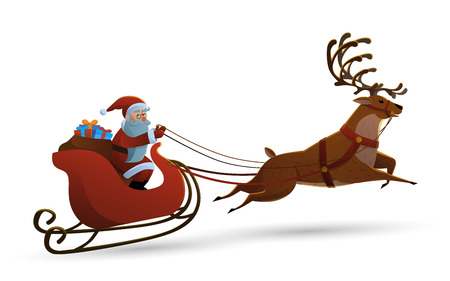 new: Vector illustration of Happy Santa claus riding a reindeer in white isolated background. Vector Illustration in Cartoon Style. Illustration