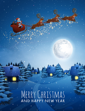 Santa Claus on deer Flying Sleigh with reindeers. Christmas Landscape snow Fir Tree at Night and Big Moon. Concept for Greeting or Postal Card. Stok Fotoğraf