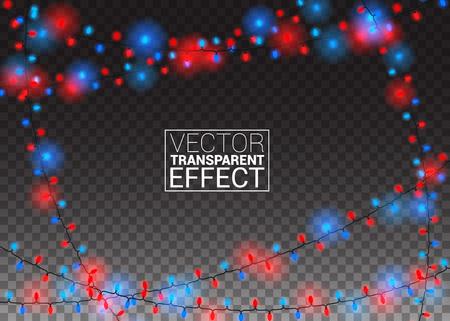 Gloeiende kerstverlichting geïsoleerd op transparante achtergrond. Kleurenslingers Xmas Feestelijke feestdecoraties. Vector Illustratie