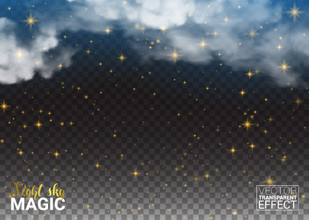 Night sky magic Stars and cloud. Design Shining Environment Space. Vector Illustration Abstract Transparent Background