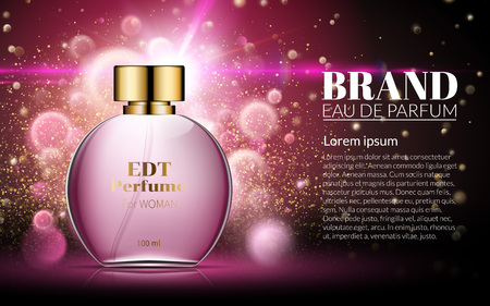 Beautiful Pink Bottle Womens Perfume Products. Cosmetic Fragrance. Spring Aroma Liquid. Blurred Light Bokeh Background. Baner Template on your text. 3d Vector Illustration