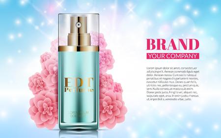 Botella de perfume sobre fondo azul suave Flores de color rosa. Excelente Publicidad de Cosméticos, Suave. Venta de diseño de paquete cosmético o promoción de producto nuevo. Ilustración vectorial 3D Ilustración de vector