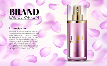 Woman Glamour Pink Rose Water Spray Bottle. Perfume Contained in Glass Mock up with Falling petals Flowers Background. Excellent Advertising. Cosmetic Design Product. 3D Vector Illustration