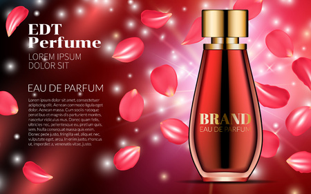 Spray Bottle on Red Falling Petals Flowers Background. Premium Ads for Web Site Marketing Social Network and Blog. Realistic 3d color Perfume. For poster Placard Flyer Cover. 3D Vector Illustration