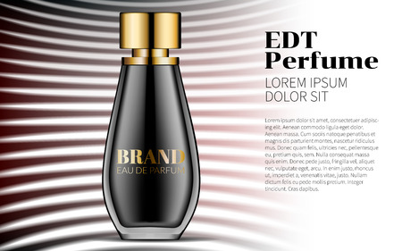 Aroma Liquid Perfume. Beautiful Black Bottle Haute Couture Beauty Stylish Illustration. Aroma Liquid. Cosmetic Fragrance Vector Print. White and Black Line Background. Realistic 3d illustration