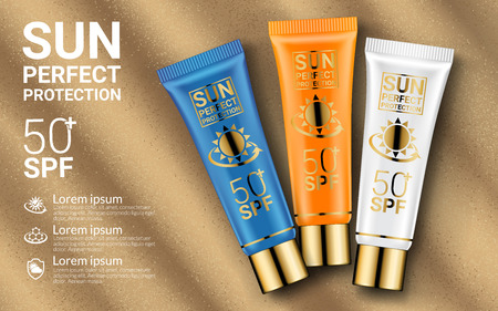 Sun Protection Cosmetics. Cosmetics mockup design. Body Lotion or Cream Tubes UV Protection Moisturizing Effect on Sandy Beach Summer Background. Packaging design. Vector illustration.