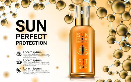 Body Lotion Cream Tubes Oil Spray Bottle. Sunblock SPF Sun UV Protection Solution Suncare. Repair Formula. Gold Cosmetics Mockup Packaging Design. Nano Molecules Background. Advertising Poster. Vectores