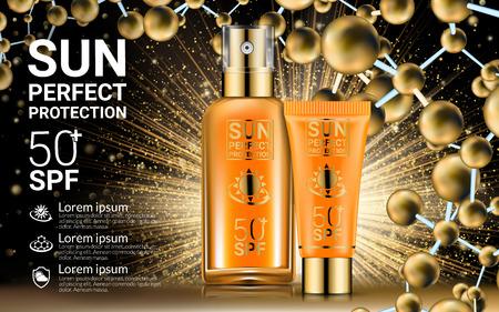 Body Lotion Cream Tubes Oil Spray Bottle. Sunblock SPF Sun UV Protection Solution Suncare. Repair Formula. Gold Cosmetics Mockup Packaging Design. Nano Molecules Background. Vector illustration Vectores