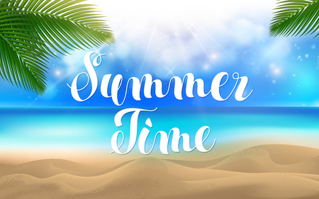 Summer Time Lettering. Summer Time at the Beach with Coconut Leaves Exotic Palm on Top and Bokeh Effect Background. Sand Sea Ocean. Vector illustration