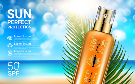 Sunscreen Sprays Summer Sunblock Cosmetic Design Template on Beach Background Exotic Palm Leaves. Concept Advertising Products for Sunburn. Realistic Sun Protection Product Ads.