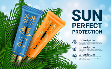 Sun Cosmetics Protection Sunscreen Product Ads. Sunblock Cosmetic 3D Realistic Packaging Mockup Design Template. Exotic Palm Leaves. Summer Background. Vector illustration.