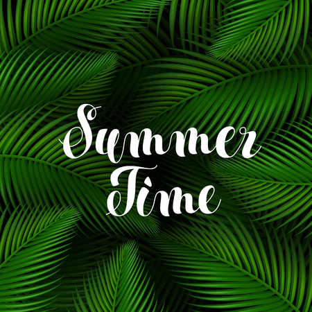 Summer Time Lettering Poster. Realistic Trendy Vector Illustration. Text Handwriting on Tropical Exotic Palm Leaves Jungle Background. Poster and flyer design template.