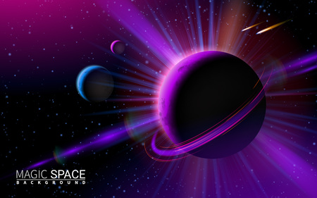 Abstract Space Background with Stars and Moon. Vector Illustration Modern Background. Effect Realistic Design Elements.