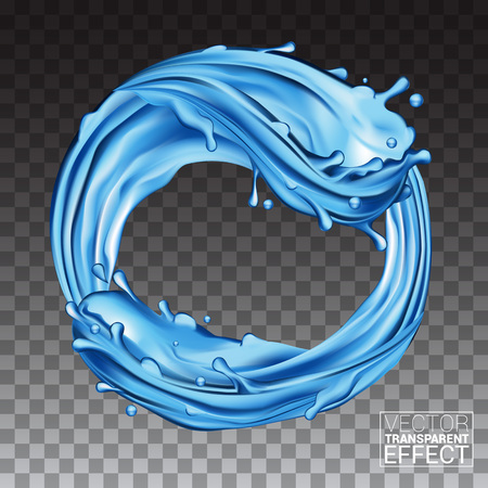 Waves Splashing Water. Natural Blue Liquid in a Ring Shape. Isolated on Transparent background. Vector illustration.
