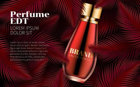 Bottiglia di profumo modello Sweet Red Leaf Design Art Abstract. Eccellente pubblicità di cosmetici. Confezione cosmetica Design Vendita o promozione di nuovi prodotti. Illustrazione vettoriale 3D