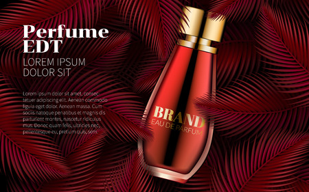Parfüm-Flaschen-Schablone Sweet Red Leaf Design Art Abstract. Ausgezeichnete Kosmetikwerbung. Kosmetikverpackung Design Verkauf oder Förderung neues Produkt. 3D-Vektor-Illustration