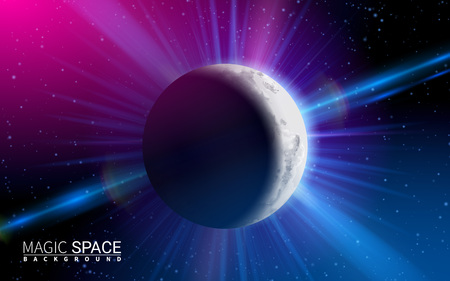 Abstract Space Moon Planet Shining Sun. Effect Realistic Design Elements. Vector Illustration Modern Background.
