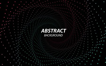 Digital Vector Background. Technology Fractal with Wave Lines and Dots. Futuristic Style. Big Data Stream Visualization. Abstract Radial Tunnel Concept. Effect of Depth of Field