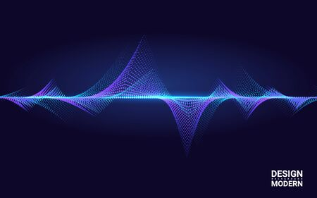 Abstract Colorful Wave Element for Music Design with Equalizer. The dynamic line on a dark background. Big data. Concept Sound. Technology Science. Vectores