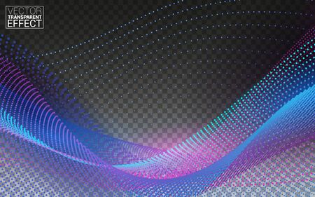 Dynamic particles sound wave flowing. Beautiful wave shaped array of glowing dots. Isolated on Transparent Background Vector Illustration. Vectores