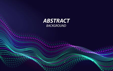 Beautiful Sound Waves 3d Shaped Array of Blended Points on Dark Background. Big data. Futuristic Lines of Many Dots. Design Element For poster Cover Banner. Abstract Vector Illustration