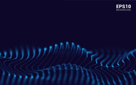 Waves With Particles on Dark Background. Flowing Particle. Futuristic Lines of Many Dots. Design Element For poster Cover Banner. Abstract Vector Illustration Vectores