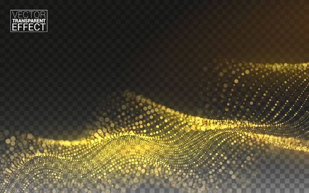 Gold Magic Glitter. Gold Glittering Star Dust Trail Sparkling Particles. 3d Wave Shaped Array of Blended Points. Vector Transparent Background. Vectores
