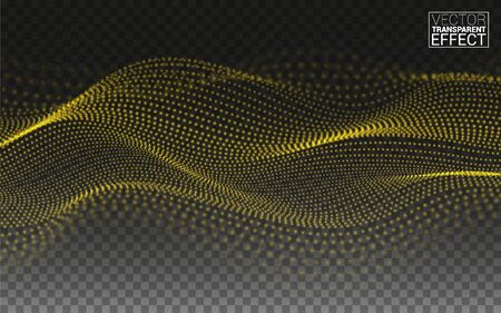 Gold Digital Perspective composition. Seaside Terrain. Abstract linear 3D landscape. Technology Data flow. Particles Grid. Print Web Banner. Vector Illustration Transparent Background.