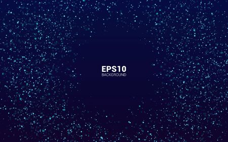 Gold glitter powder splash Magic night dark blue sky with sparkling stars. vector background. Golden scattered dust.