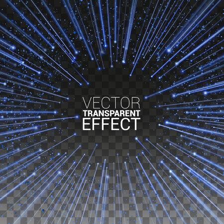 High speed. Blue Light stripes fast over dark background with ray sparkles. Abstract explosion background. Vector Illustration Transparent Background.