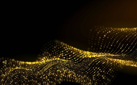 Star Dust Sparks in Explosion on Black Background. Sparkling luminous Gold Stars Beautiful 3d Wave Shaped Array of Blended Points. Glitter particles effect. Vector Illustration.