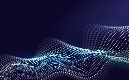 Futuristic Lines of Many Dots. Beautiful 3d Wave Shaped Array of Blended Points on Dark Background. Big data. Design Element For poster Cover Banner. Abstract Vector Illustration.