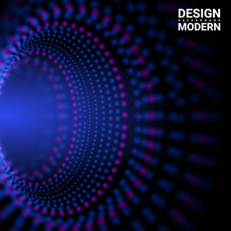 Dynamic particles. Illustration suitable for motion design. The elements on a dark blue Vector abstract background.