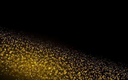Sparkling background luminous gold Stars Star dust sparks in explosion on black background. Glitter particles effect. Vector Illustration. Vectores