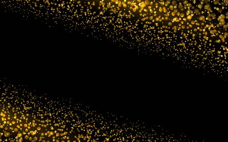 Sparkling background luminous gold Stars Glitter particles effect. Star dust sparks in explosion on black background. Vector Illustration.
