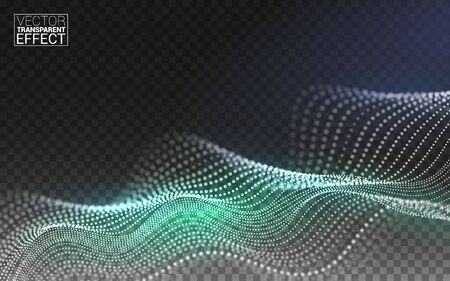 Color Abstract linear 3D. Technology Data Flow Particles. Digital Composition. Vector Illustration Transparent Background.
