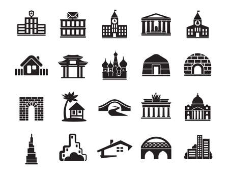 Urban infrastructure vector icons set, modern solid symbol collection filled pictogram pack. Set includes icons playground buildings service.