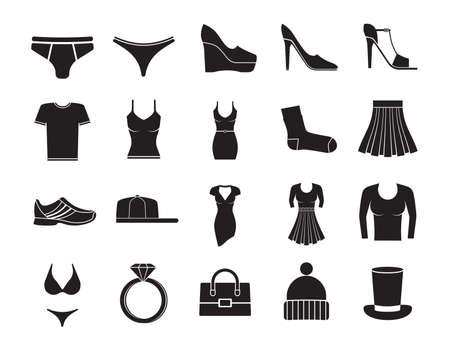 Clothes fashion icons set on white background