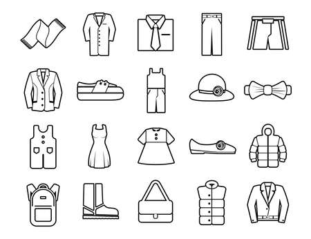 Clothes Set vector line icons with open path elements for mobile concepts and web apps.