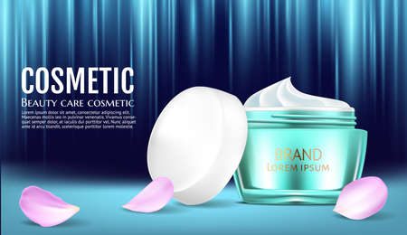 Cosmetics White cream and spray moisturizer hydration. Product packaging mockup. Exotic green leaves background. Detailed design 3d template illustrations. Vector realistic
