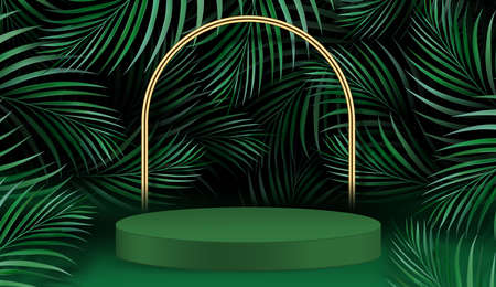 Abstract scene with geometric forms. cylinder podium in green background with palm leaves. Product presentation, mockup, show product, podium, stage pedestal or platform. 3d vector illustration.