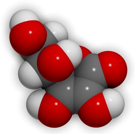 3D molecular structure of vitamin C (ascorbic acid) photo