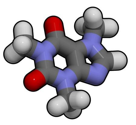 3D molecular structure of caffeine Stock Photo