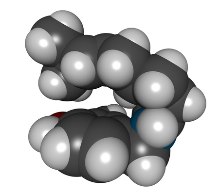 piri: 3D molecular structure of capsaicin, the active component of chili peppers and pepper spray