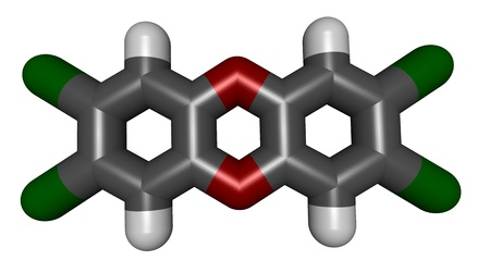 pollutant: 3D structure of dioxin (polychlorinated dibenzodioxin), an important envirenmental pollutant